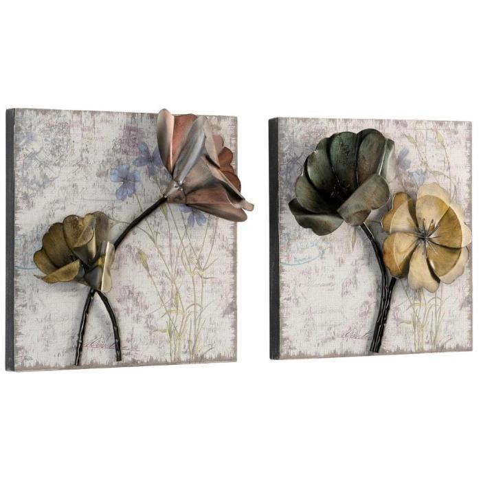 2x wanddekoration h04 wandbild wandpaneel wanddeko metallblumen 36x36x11cm. Black Bedroom Furniture Sets. Home Design Ideas