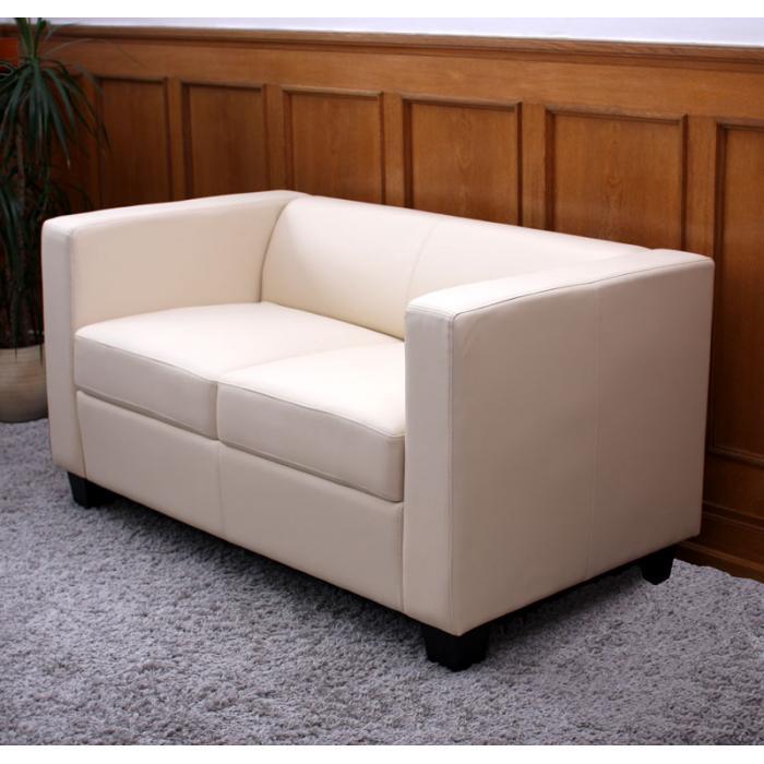 2er sofa couch loungesofa lille kunstleder creme. Black Bedroom Furniture Sets. Home Design Ideas