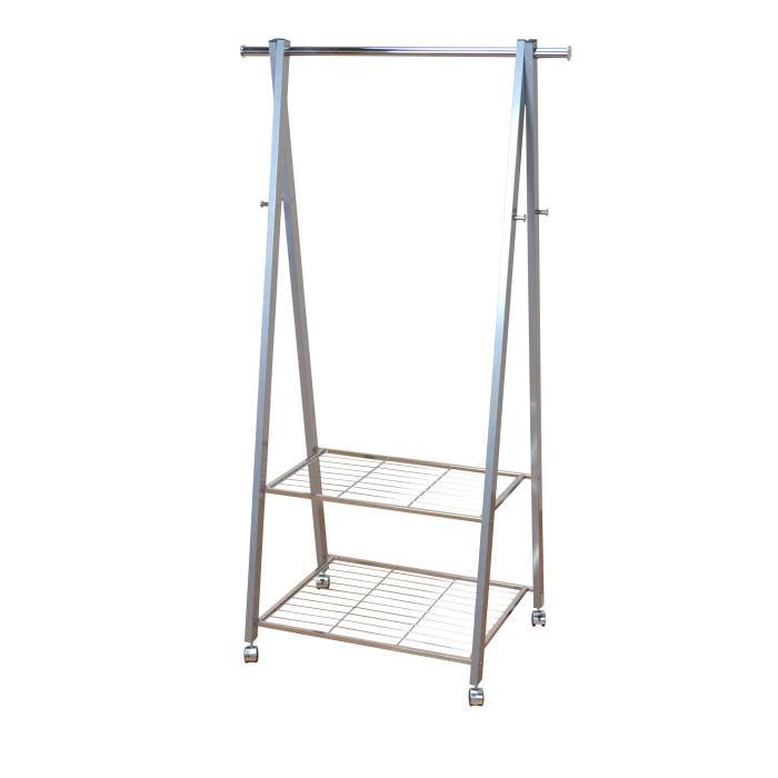 garderobenst nder h09 kleiderst nder auf rollen 158x85x54cm silber. Black Bedroom Furniture Sets. Home Design Ideas