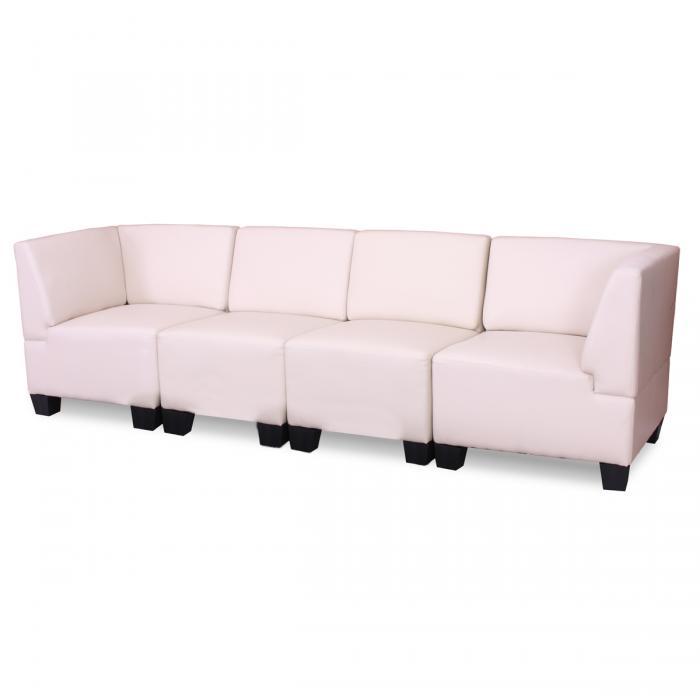 modular 4 sitzer sofa couch lyon kunstleder creme hohe armlehnen. Black Bedroom Furniture Sets. Home Design Ideas