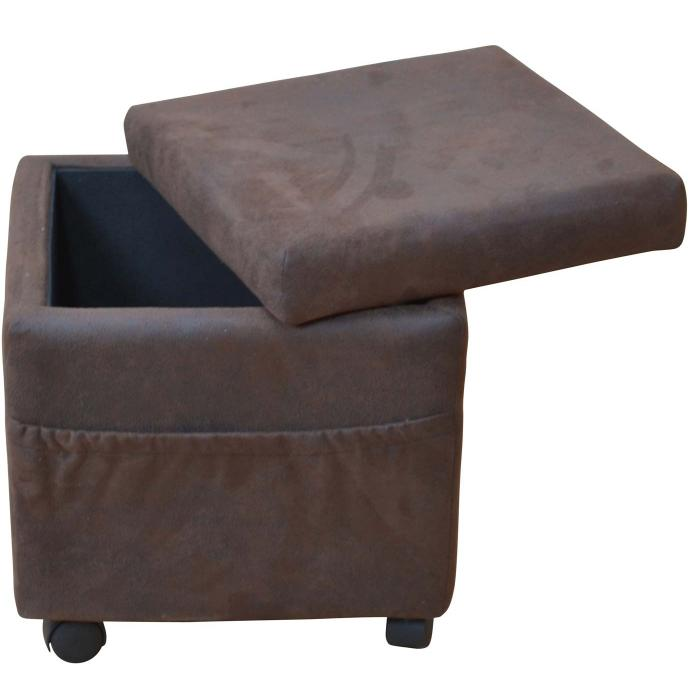 sitzw rfel h26 sitzhocker hocker auf rollen mit deckel und seitentaschen 45x42x42cm. Black Bedroom Furniture Sets. Home Design Ideas