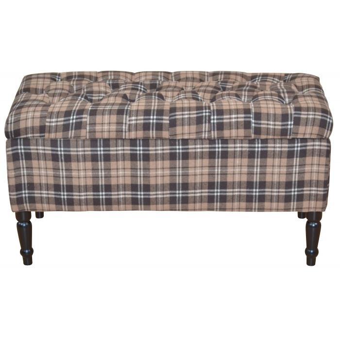 sitzbank h31 polsterbank bank stoffbezug mit stauraum 47x90x40cm braun kariert. Black Bedroom Furniture Sets. Home Design Ideas