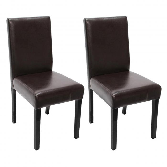 2x esszimmerstuhl stuhl lehnstuhl littau leder braun dunkle beine. Black Bedroom Furniture Sets. Home Design Ideas