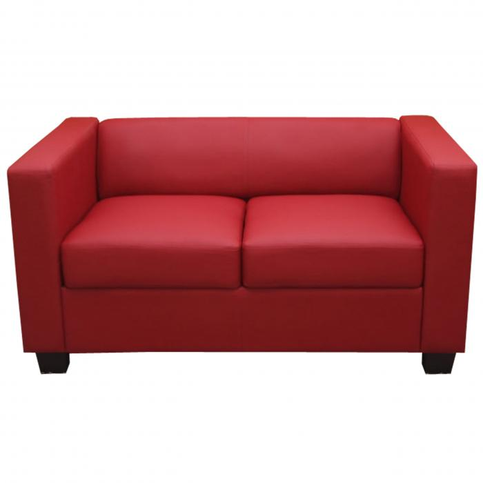 2er sofa couch loungesofa lille leder rot. Black Bedroom Furniture Sets. Home Design Ideas