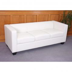 3er Sofa Couch Loungesofa Lille ~ Kunstleder,  wei�