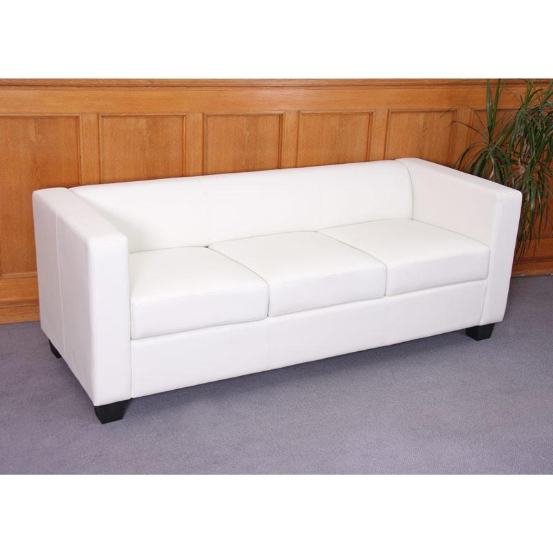 3er sofa lille couch loungesofa kunstleder wei ebay. Black Bedroom Furniture Sets. Home Design Ideas