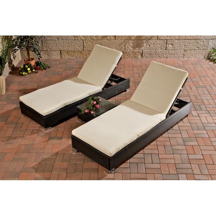 2x sonnenliege relaxliege gartenliege mit tisch schwarz. Black Bedroom Furniture Sets. Home Design Ideas