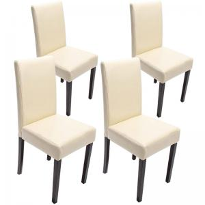4x esszimmerstuhl stuhl lehnstuhl littau leder creme dunkle beine. Black Bedroom Furniture Sets. Home Design Ideas