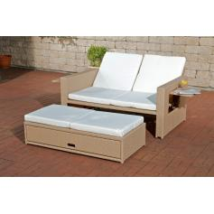 2er Sofa CP041, 2-Sitzer, Poly-Rattan ~ sand