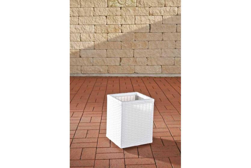 poly rattan blumenk bel cp001 blumentopf 35x27x27 cm wei. Black Bedroom Furniture Sets. Home Design Ideas