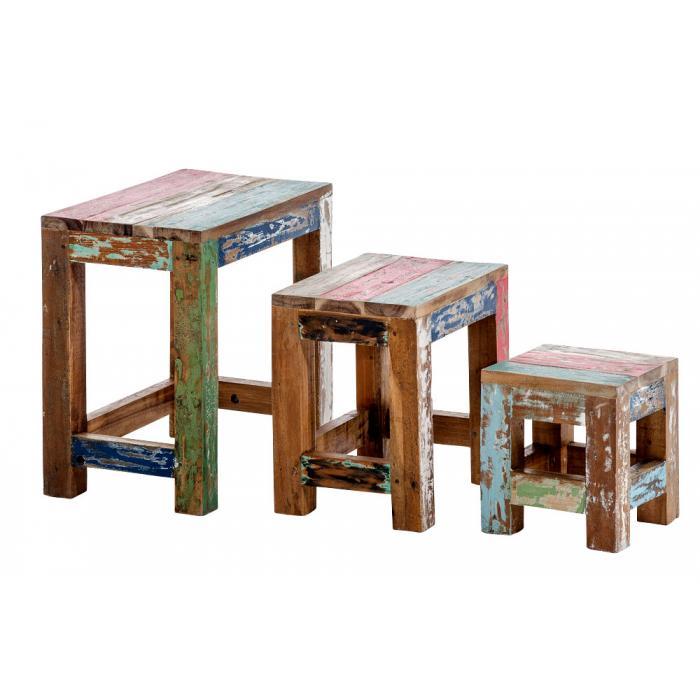 3 satz tisch cp331 beistelltisch couchtisch teakholz. Black Bedroom Furniture Sets. Home Design Ideas