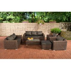 3-2-1-1 Sofa-Garnitur CP050 Lounge-Set Gartengarnitur Poly-Rattan ~ Kissen anthrazit, braun-meliert