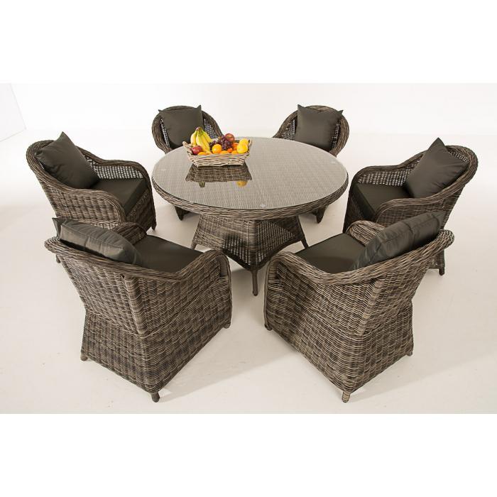 poly rattan sitzgruppe cp348 sitzgarnitur gartengarnitur grau meliert kissen anthrazit. Black Bedroom Furniture Sets. Home Design Ideas