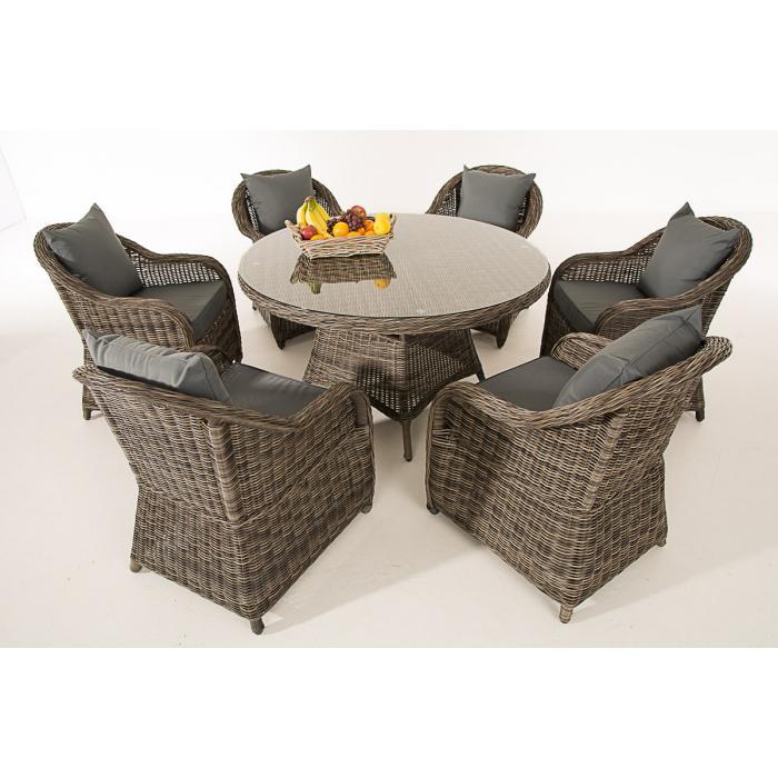 poly rattan sitzgruppe cp348 sitzgarnitur gartengarnitur grau meliert kissen eisengrau. Black Bedroom Furniture Sets. Home Design Ideas