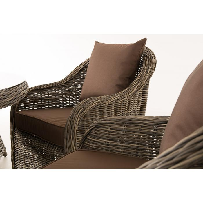 poly rattan sitzgruppe cp348 sitzgarnitur gartengarnitur grau meliert kissen terrabraun. Black Bedroom Furniture Sets. Home Design Ideas