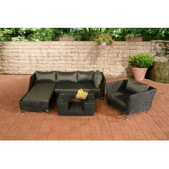 Sofa-Garnitur CP055, Lounge-Set Gartengarnitur, Poly-Rattan ~ Kissen anthrazit, schwarz