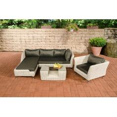 Sofa-Garnitur CP055, Lounge-Set Gartengarnitur, Poly-Rattan ~ Kissen anthrazit, perlweiß