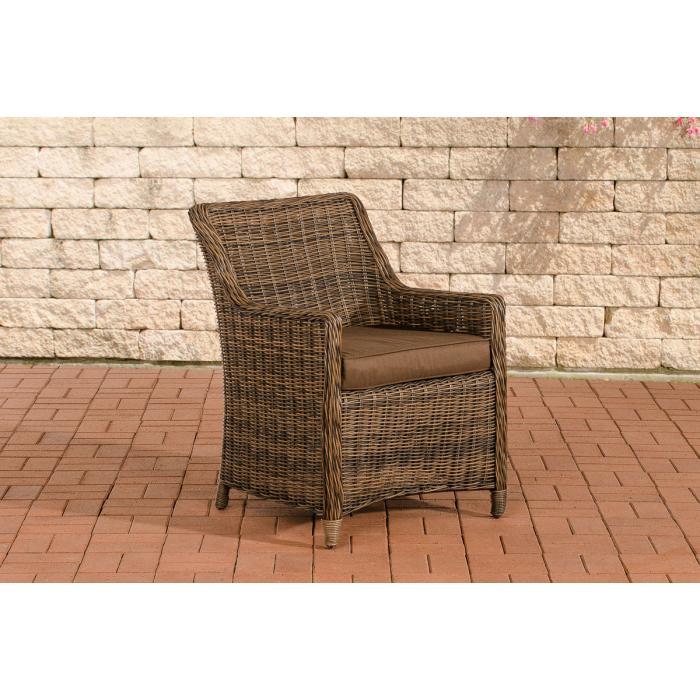 gartensessel cp060 korbsessel poly rattan kissen terrabraun braun meliert. Black Bedroom Furniture Sets. Home Design Ideas