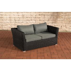 2er sofa 2 sitzer sousse poly rattan schwarz mit kissen in eisengrau. Black Bedroom Furniture Sets. Home Design Ideas