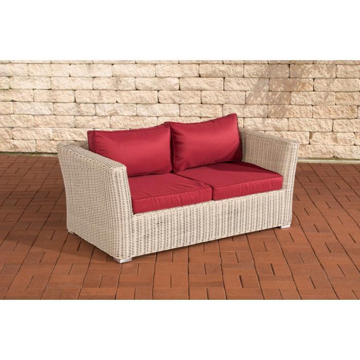 2er sofa 2 sitzer sousse poly rattan perlwei in rubinrot. Black Bedroom Furniture Sets. Home Design Ideas