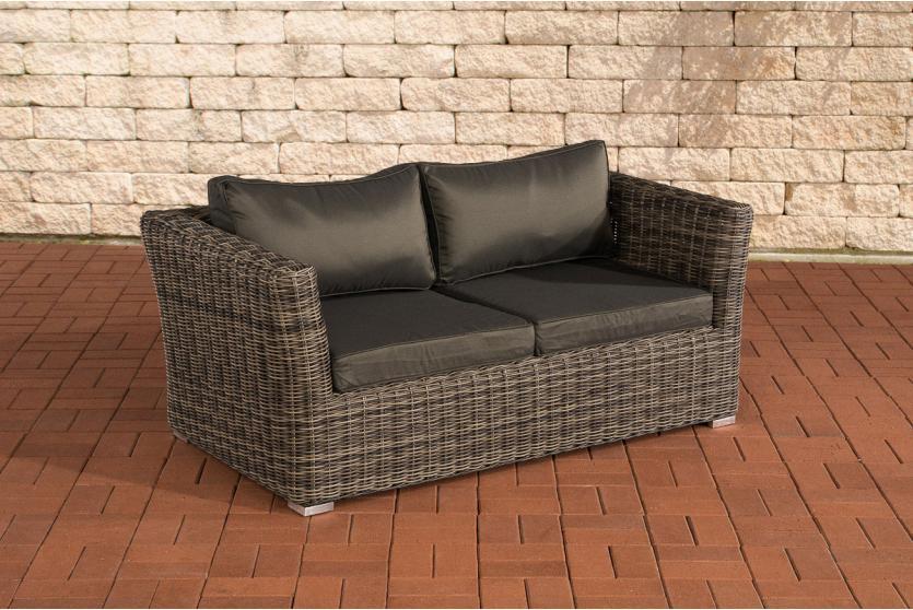 2er sofa 2 sitzer sousse poly rattan grau meliert mit kissen in anthrazit. Black Bedroom Furniture Sets. Home Design Ideas