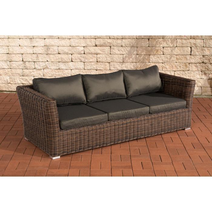3er sofa 3 sitzer sousse poly rattan braun meliert mit kissen in anthrazit. Black Bedroom Furniture Sets. Home Design Ideas