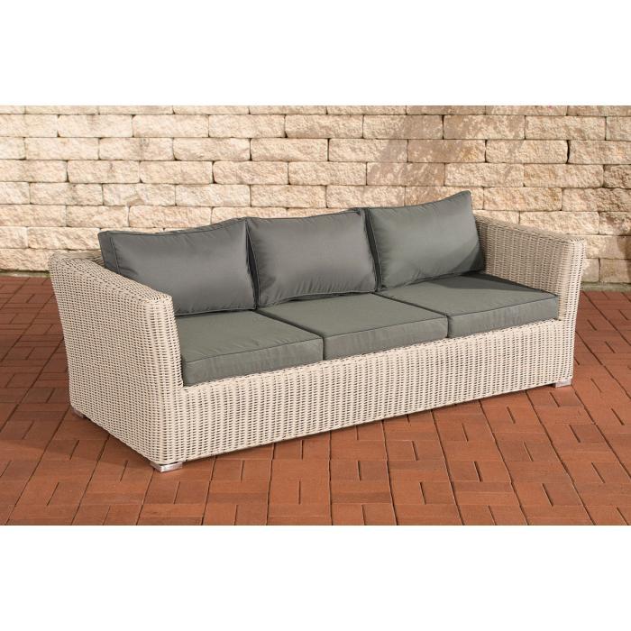 3er sofa 3 sitzer sousse poly rattan perlwei mit kissen. Black Bedroom Furniture Sets. Home Design Ideas