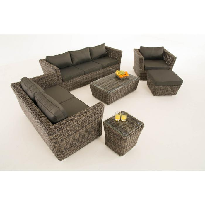 poly rattan gartengarnitur sousse sofa garnitur lounge set grau meliert polsterung anthrazit. Black Bedroom Furniture Sets. Home Design Ideas