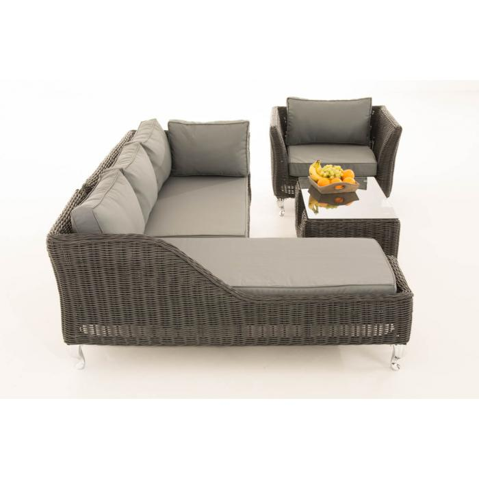 sofa garnitur cp055 lounge set gartengarnitur poly rattan kissen eisengrau schwarz. Black Bedroom Furniture Sets. Home Design Ideas