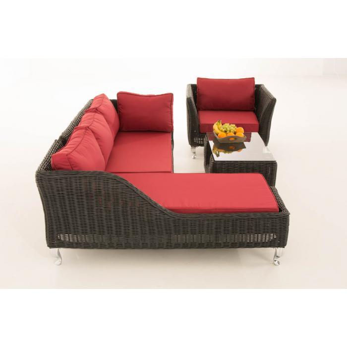 sofa garnitur cp055 lounge set gartengarnitur poly rattan kissen rubinrot schwarz. Black Bedroom Furniture Sets. Home Design Ideas