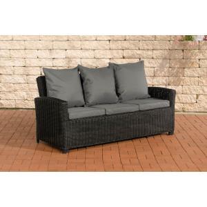 3er sofa cp042 3 sitzer poly rattan kissen eisengrau schwarz. Black Bedroom Furniture Sets. Home Design Ideas
