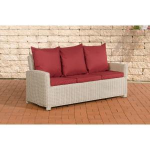 3er sofa cp042 3 sitzer poly rattan kissen rubinrot perlwei. Black Bedroom Furniture Sets. Home Design Ideas