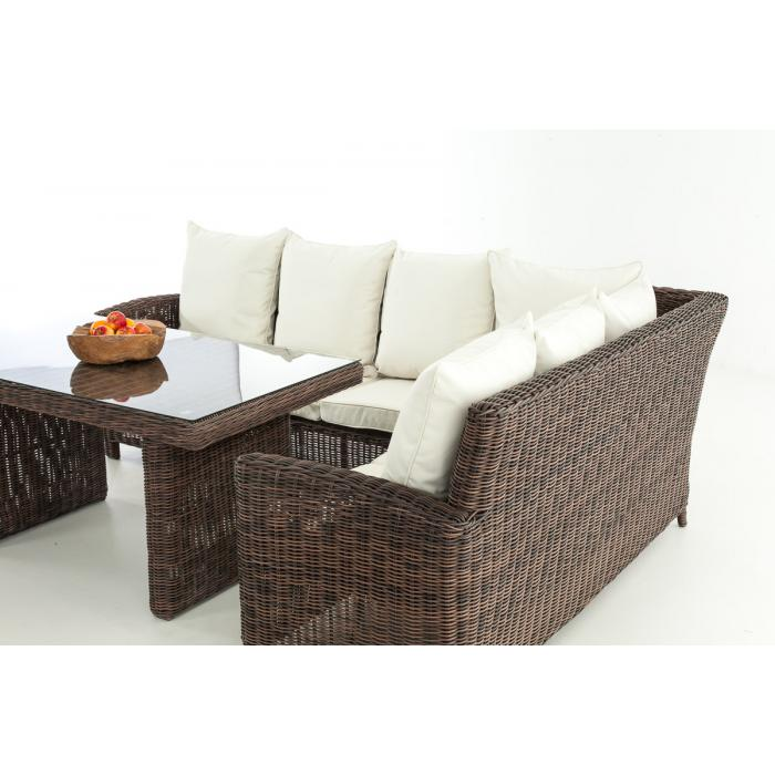 sofa garnitur cp056 lounge set gartengarnitur poly rattan kissen creme braun meliert. Black Bedroom Furniture Sets. Home Design Ideas