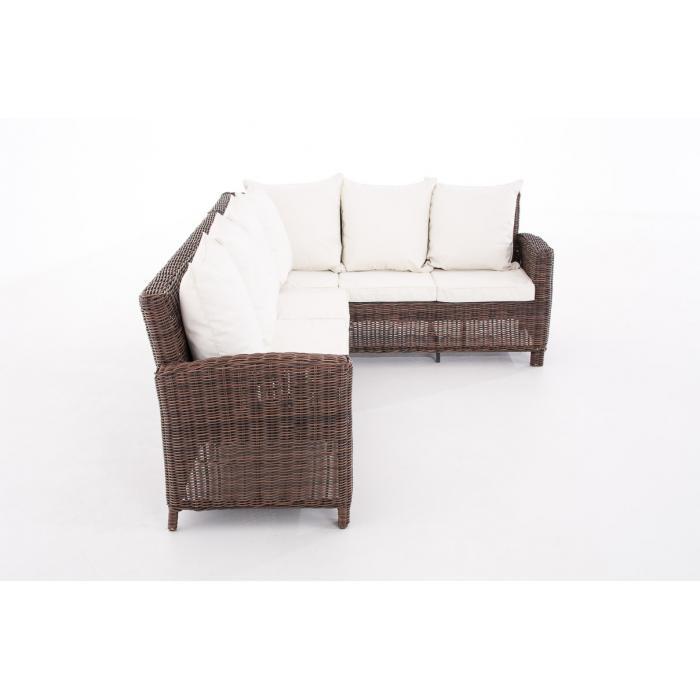sofa garnitur cp056 lounge set gartengarnitur poly rattan kissen creme braun meliert. Black Bedroom Furniture Sets. Home Design Ideas