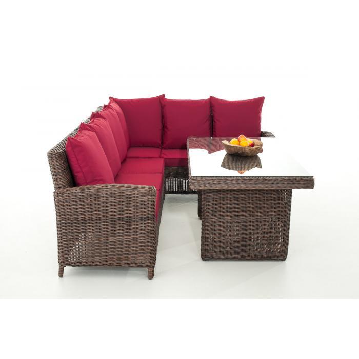 sofa garnitur cp056 lounge set gartengarnitur poly rattan kissen rubinrot braun meliert. Black Bedroom Furniture Sets. Home Design Ideas