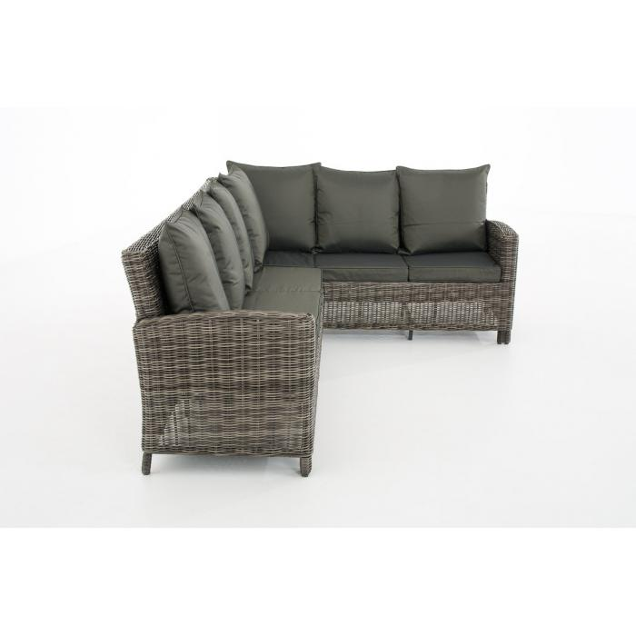 Sofa-Garnitur CP056, Lounge-Set Gartengarnitur, Poly-Rattan ~ Kissen anthrazit, grau-meliert