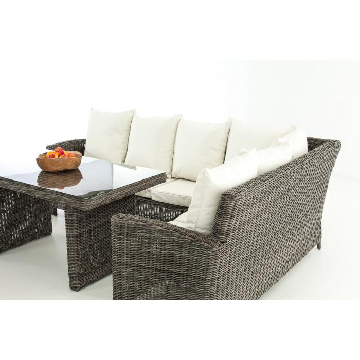 sofa garnitur cp056 lounge set gartengarnitur poly rattan kissen creme grau meliert. Black Bedroom Furniture Sets. Home Design Ideas