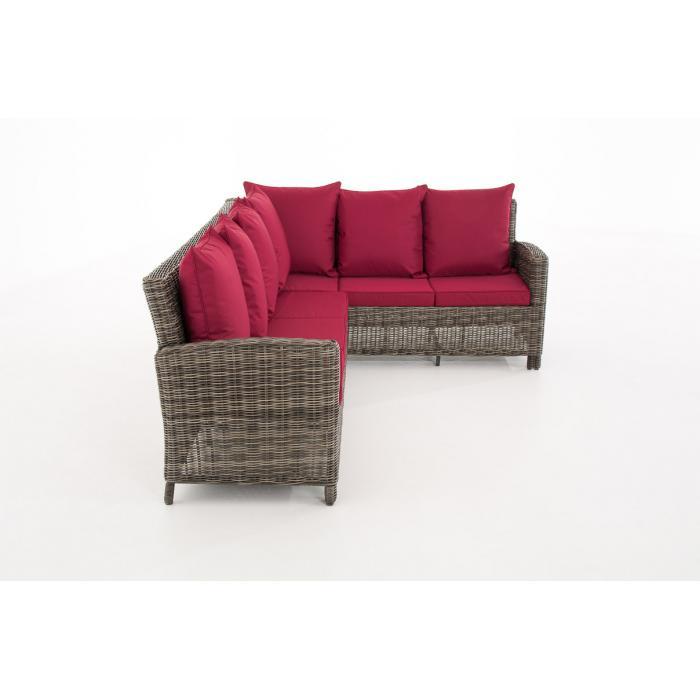 Sofa garnitur cp056 lounge set gartengarnitur poly rattan kissen rubinrot grau meliert Rattan sofa grau