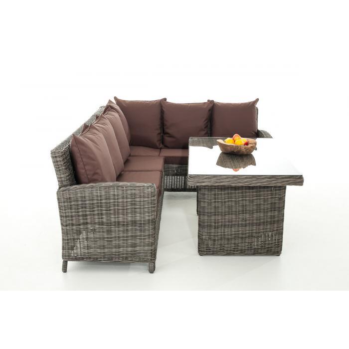 Sofa garnitur cp056 lounge set gartengarnitur poly rattan kissen terrabraun grau meliert Rattan sofa grau