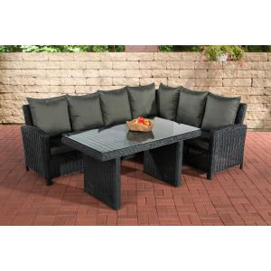 Sofa-Garnitur CP056, Lounge-Set Gartengarnitur, Poly-Rattan ~ Kissen anthrazit, schwarz