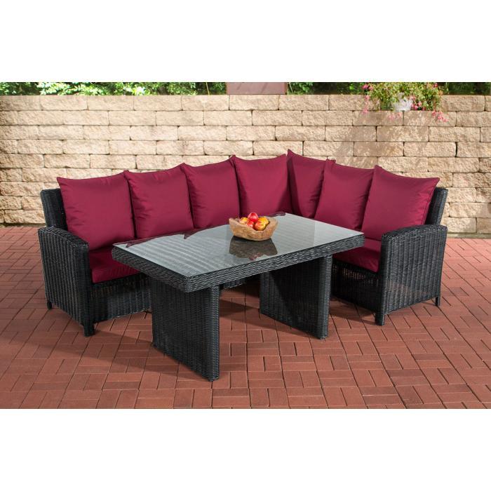 sofa garnitur cp056 lounge set gartengarnitur poly rattan kissen rubinrot schwarz. Black Bedroom Furniture Sets. Home Design Ideas
