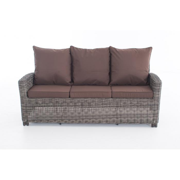 3er sofa cp042 3 sitzer poly rattan kissen terrabraun grau meliert. Black Bedroom Furniture Sets. Home Design Ideas