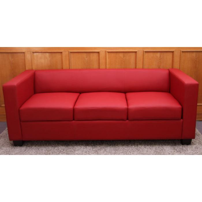 3er Sofa Couch Loungesofa Lille ~ Leder, rot