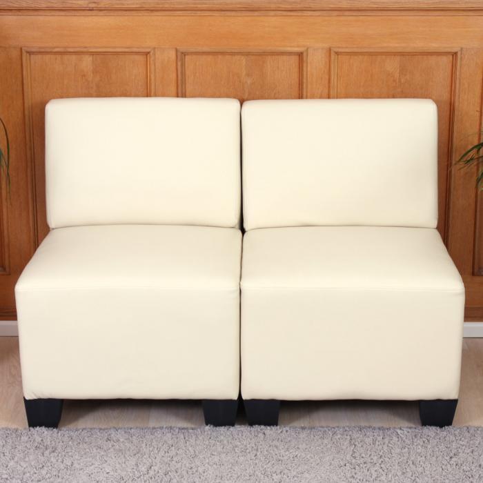 modular 2 sitzer sofa couch lyon kunstleder creme ohne armlehnen. Black Bedroom Furniture Sets. Home Design Ideas
