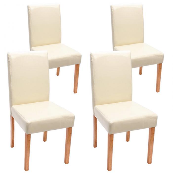 4x esszimmerstuhl stuhl lehnstuhl littau leder creme helle beine. Black Bedroom Furniture Sets. Home Design Ideas