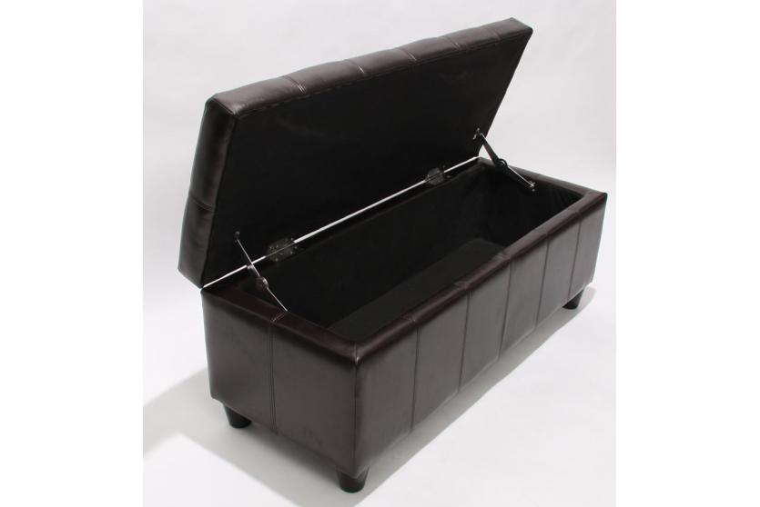 bank sitzbank mit aufbewahrung kriens leder kunstleder 112x45x45cm braun. Black Bedroom Furniture Sets. Home Design Ideas