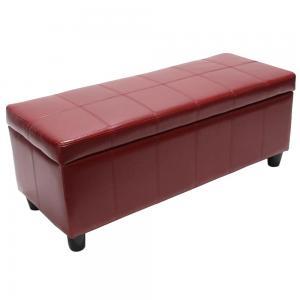 bank sitzbank mit aufbewahrung kriens leder kunstleder 112x45x45cm rot. Black Bedroom Furniture Sets. Home Design Ideas