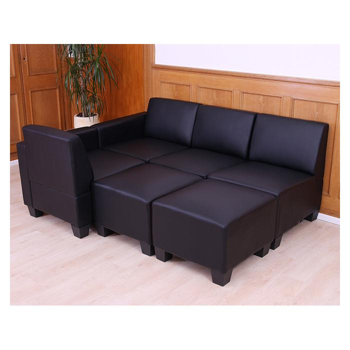 modular sofa system couch garnitur lyon 4 1 kunstleder schwarz. Black Bedroom Furniture Sets. Home Design Ideas