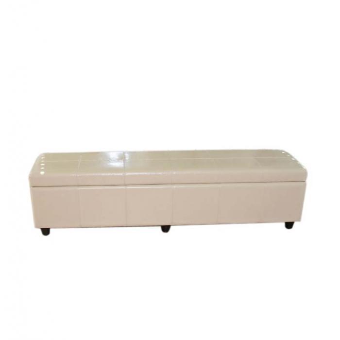 bank sitzbank mit aufbewahrung kriens xxl leder kunstleder 180x45x45cm creme. Black Bedroom Furniture Sets. Home Design Ideas