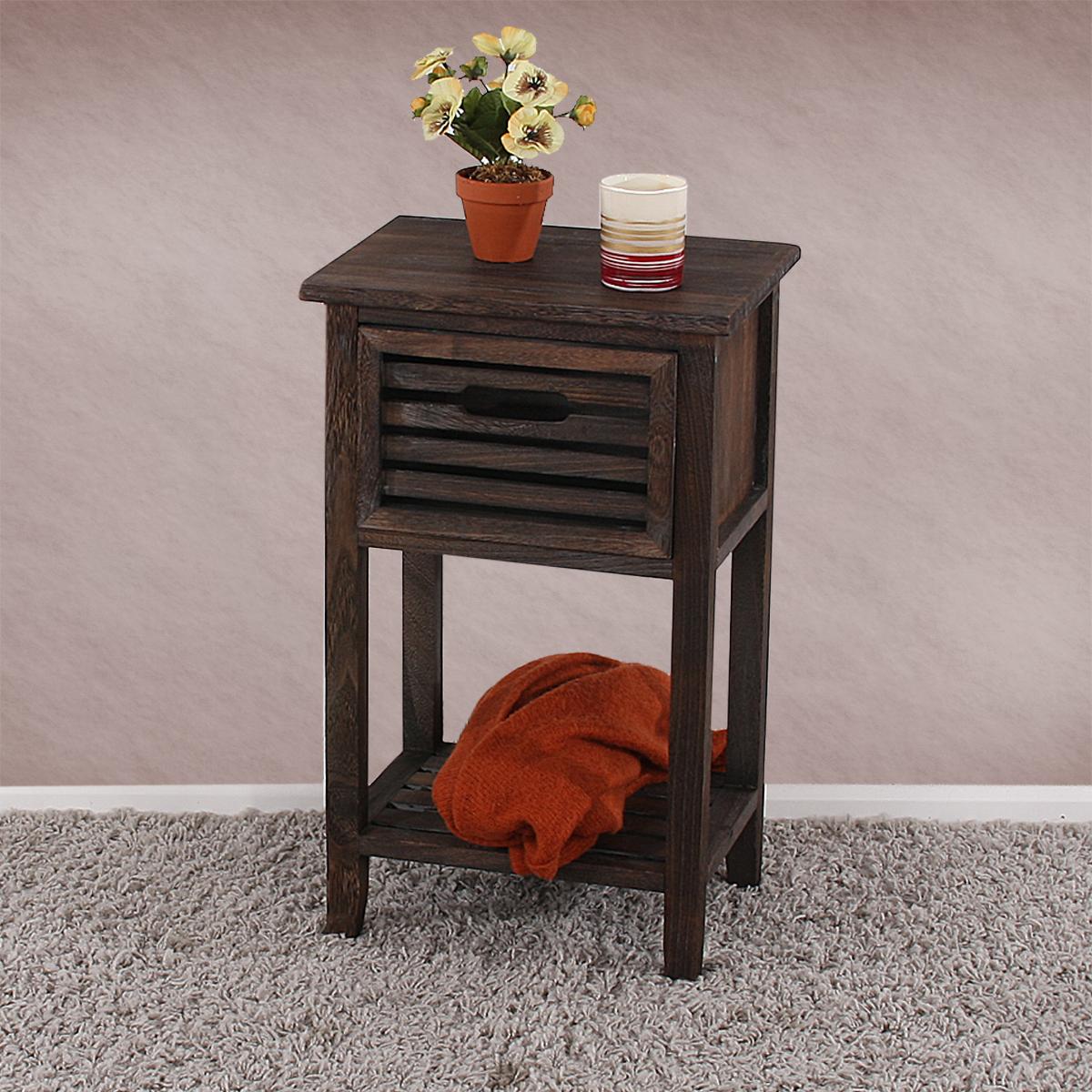 kommode beistelltisch telefontisch 57x35x27cm shabby look vintage wei braun ebay. Black Bedroom Furniture Sets. Home Design Ideas